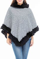 Luxuriously Fur Lined And Cuffed Gross Grain Ultimate Poncho