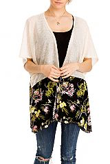 Close Stitched, Short Sleeved, Floral Patterned Bottom Fashion Kimono Top