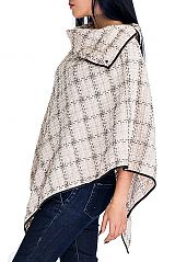 Checkered Pattern Cashmere Feel Thick Knitted Neck Cape Poncho