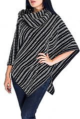 Striped Pattern Cashmere Feel Thick Knitted Neck Cape Poncho
