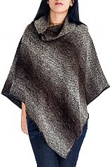 Two tone Dip Dyed Pattern Thick Knitted Neck Cape Poncho