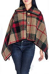 Vintage Fashion Academic Plaid and Checkered Buttoned Cashmere Feel Thick Knitted Neck Cape Poncho
