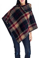 Plaid and Checkered Pattern Cashmere Feel Thick Knitted Neck Cape Poncho