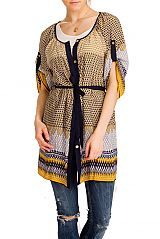 Golden Button Down Cinched Waist Tunic Sleeved Top