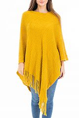 Ribbed Pattern Super Softness Thick Knitted V- Neck Poncho