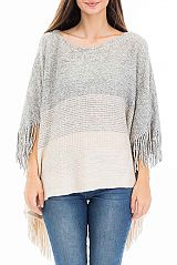 Ombre Toned Round Neck Line Fringed Throw Over Poncho