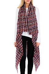 Multi Colorful Tartan Weaved Distressed Over Sized Blanket Cardigan Vest