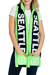 """SEATTLE"" Double Layered & Thick Knit UNISEX Hooded Winter Scarf with Pockets"