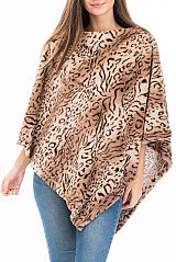 Exotic Animal Print Draped Neckline super Soft Plush fur Poncho