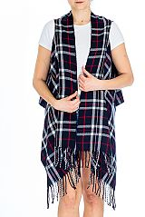 Classic Fashion Paid Printed Super Soft Cashmere Vest Cardigan with Fringe