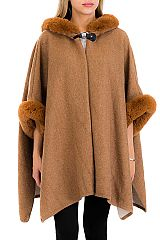Luxurious Multi Tone Super Soft Fur Trimmed Cape with Hooded Poncho