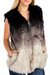 Two Tone Dip Dyed Super Softness Thick Quality Faux Fur Vest