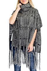 Looped Horizontal Braid Knit Turtle Neck Long Fringed Poncho Throw Over