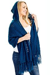 Braid Knit Pattern Through Out Hooded Shawl With Brooch