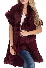 Noble Long Coat Faux Fur Trimmed Collar Double Layered Poncho