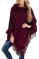 Cable Patterned Long Sleeveless Shawl Poncho with Fur and Fringes