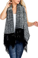 Warm & Soft Two Tone Bubble Knit Sleeveless Cardigan with Fringes