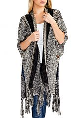 Striped Space Dyed Knitted Fringe-trim Cardigan with Button