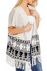 Aztec pattern Knitted  Design with  Fringe Cardigan Sweater