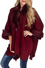 Daisy Pattern Neckline and wrist Faux Fur Softness Knitted Open Poncho
