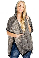 Mix Tone Hard Thick Knitted Softness with Pocket and Hoodie Design Poncho