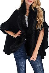 Plain Softness Knitted Long Sleeve with wrist and Long Faux Fur Design Open Poncho