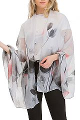 Lightly Printed Discolored Floral Garden Scarves