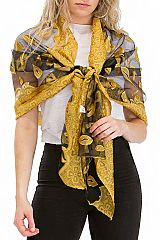 Luxurious Metallic Shimmered Lip Stencil Chiffon Tulle Mixed Scarves