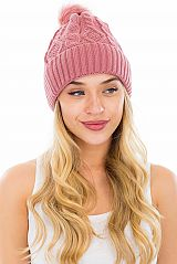 Thick Solid Colored Coil Knit Winter Beanie with Pom Pom