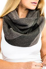 Striped Pattern Cashmere Feel Infinity Super softness Scarf