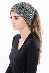 Thick Knit Solid Colored Winter Beanie with a Hole for Ponytail