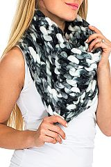 Color Splashed Blend Hand-Knit Chunk Chain Softness Scarf