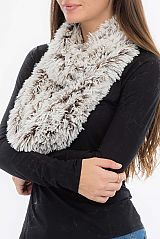 White Buttery Soft Faux Fir Color Lined Brushed Infinity Scarves