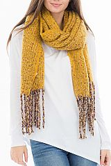 Colorful Cashmere Brushed Oversize oblong with Fringe Scarf