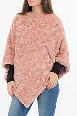 Dot Design Pattern Super Soft Brush Embossed V Styled Poncho