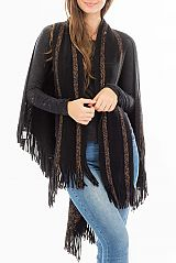 Shimmered Scarf Poncho Two In One Open Fringed Softness Poncho