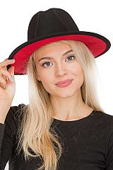 Boho Chic Solid Red Bottom Wide Brimmed Fedora Panama Style Felt