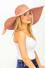 Solid Colored Burlap Ribboned Medium Width Brimmed Toyo Straw Sun Hat