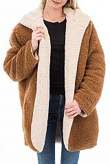 Luxury Reversible Sheared Faux Goat Fur Coat