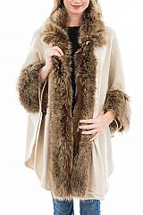 Luxurious Faux Fur Outlined Shawl Styled Poncho