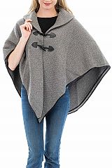Collared and Black Outlined Thick Diamond Knit Double Layered Poncho with Tooth Toggle Buttons