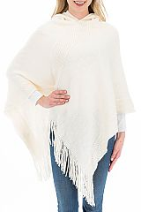 Hoody Braid Detail Knit Poncho