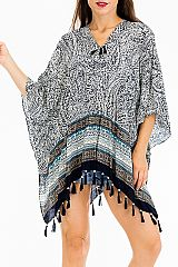 Abstract Sketched All Over Paisley Cover Up Kimono Top