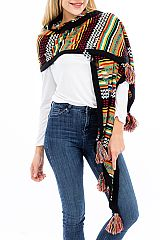 Tribal Patterned and Thick Black Outlined Knit Long Scarf with Tassel