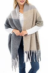 Fuzzy Cashmere Blend Extra Soft Color Block Shawl Scarves