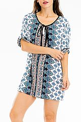 Abstract Ornate Native Boho Styled Tunic Top Cover Up