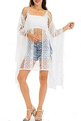Distressed Cut Lace and Fringed Throw Over Kimono Top