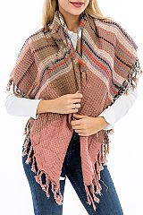 Multicolor Checkered and Gingham Patterned Knit Over Sized  Blanket Scarf Shawl with Fringes