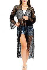 Fish Net Cut and Long Cover Up Kimono with Paisley Patterned Long Sleeves