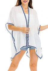 Navajo Icon Printed and Trimmed Lace Cover Up Kimono